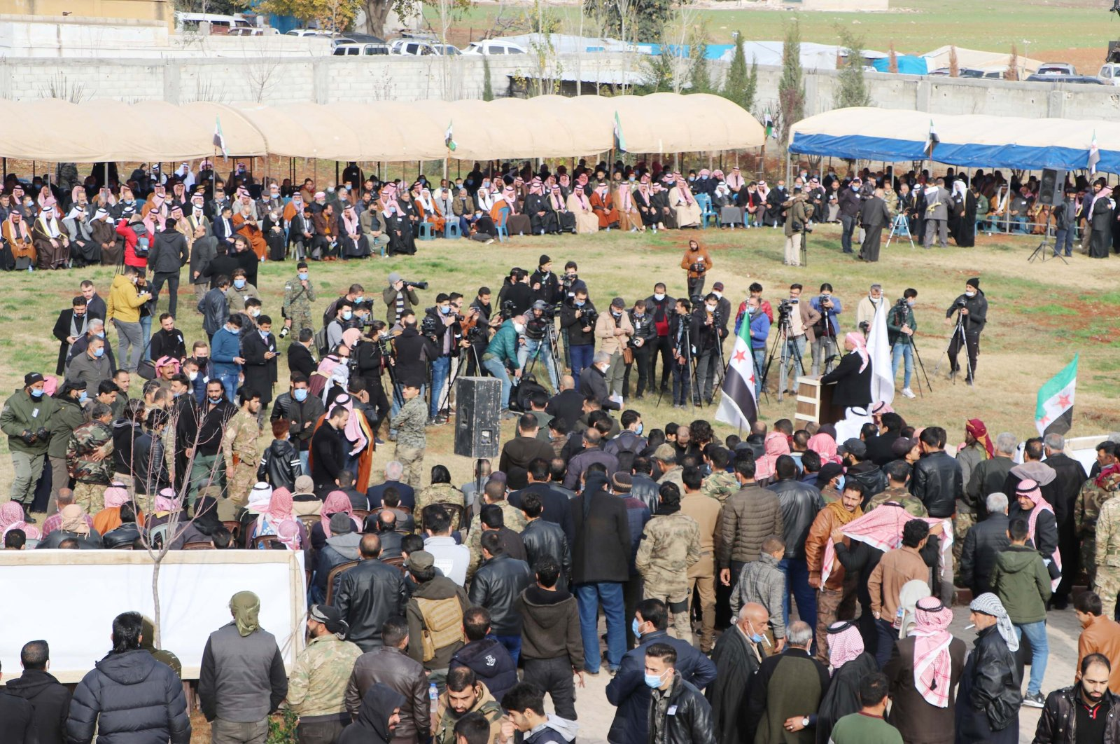 Syrian tribes and clans attend a major meeting in the city of Azaz, northern Syria, Dec. 21, 2020. (DHA Photo)