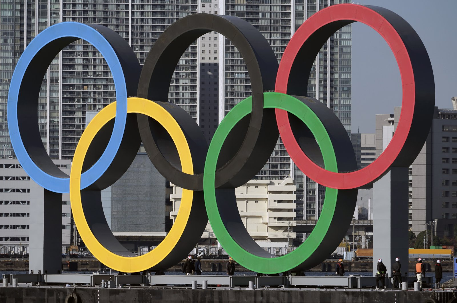 A view of the Olympic symbol in Tokyo, Japan, Dec. 1, 2020. (AP PHOTO)