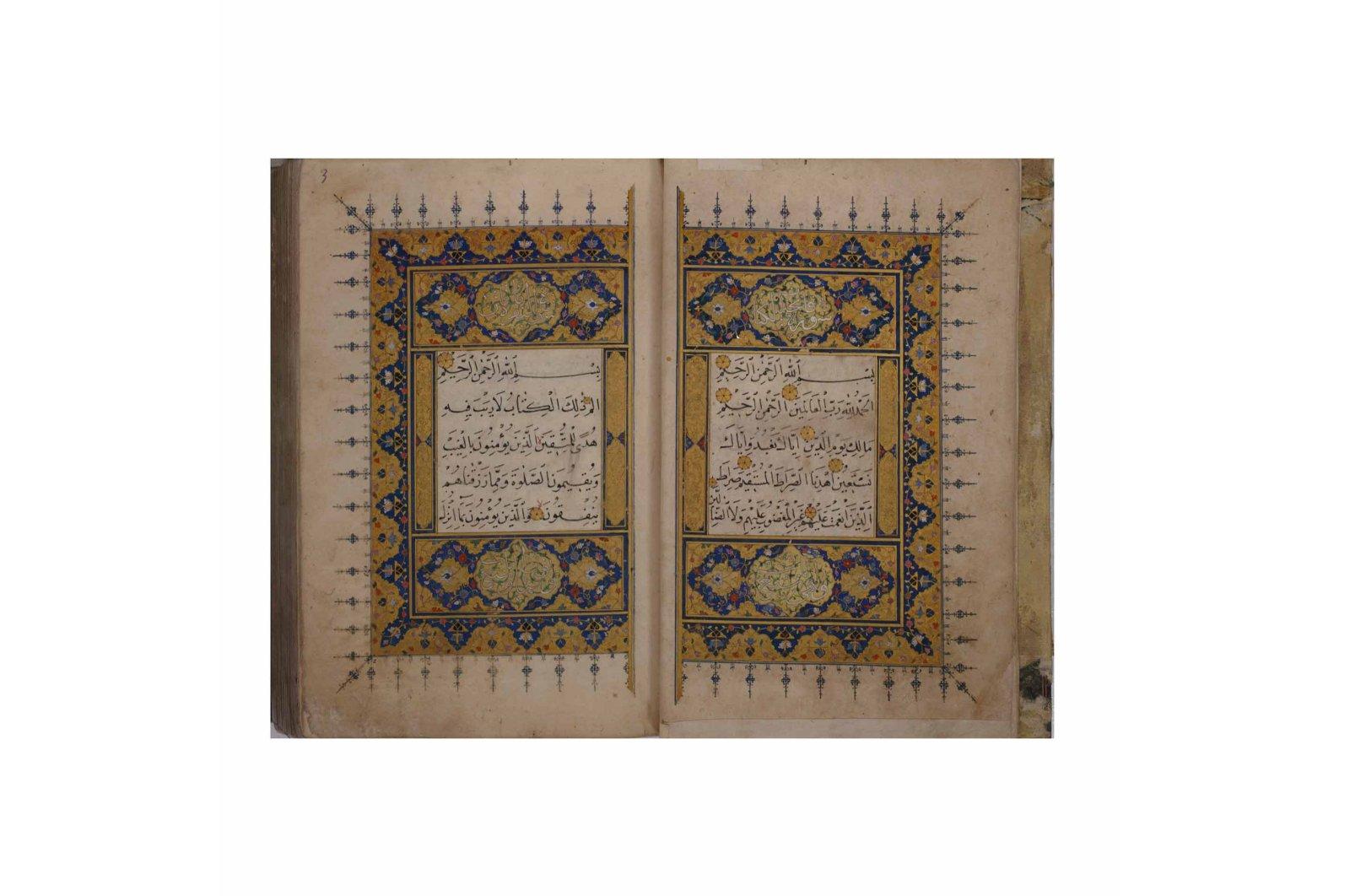 A Quran with muhaqqaq, naskh and rayhani scripts by Cemal Amasi, a contemporary calligrapher of Sheikh Hamdullah. (Courtesy of Sakıp Sabancı Museum)