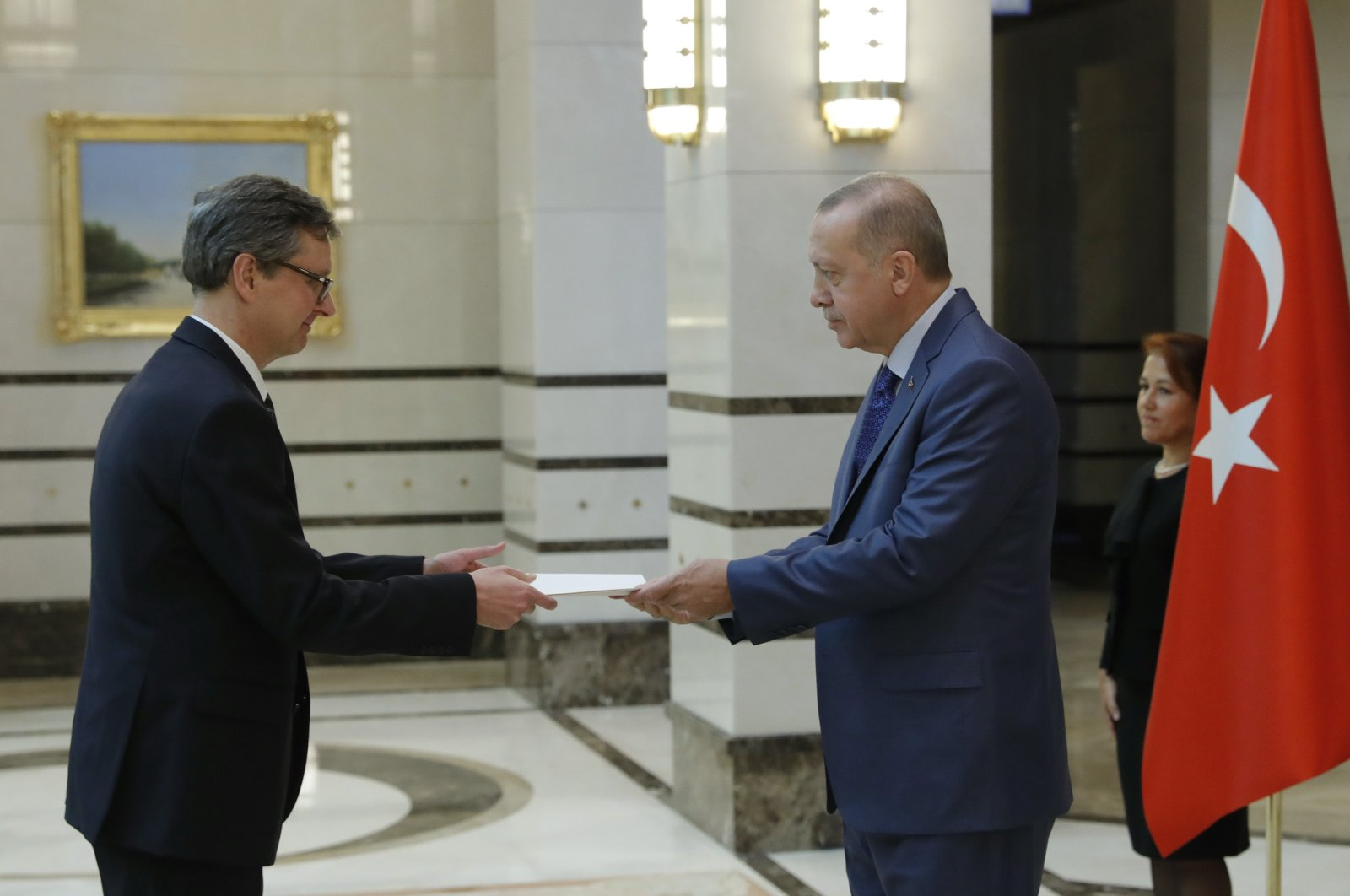 President Recep Tayyip Erdoğan accepts a letter of credence from Ambassador Johannes Wimmer in Ankara, Oct. 25, 2019. (AA)