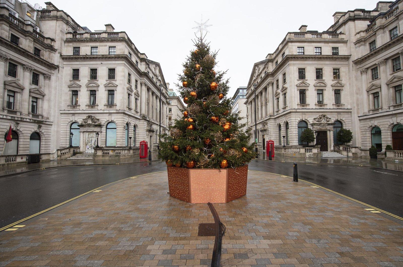 A quiet Lower Regent Street, in London on Dec. 21, 2020. (AP Photo)