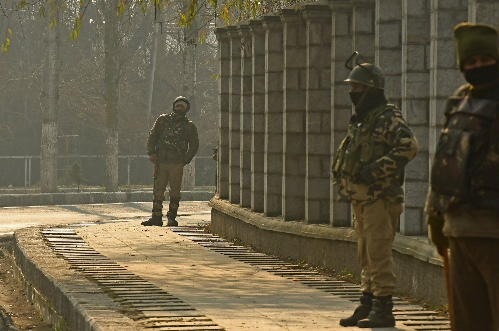 Indian paramilitary troopers stand guard outside a counting center for the District Development Council (DDC) polls in Srinagar, India, Dec. 22, 2020. (AFP)