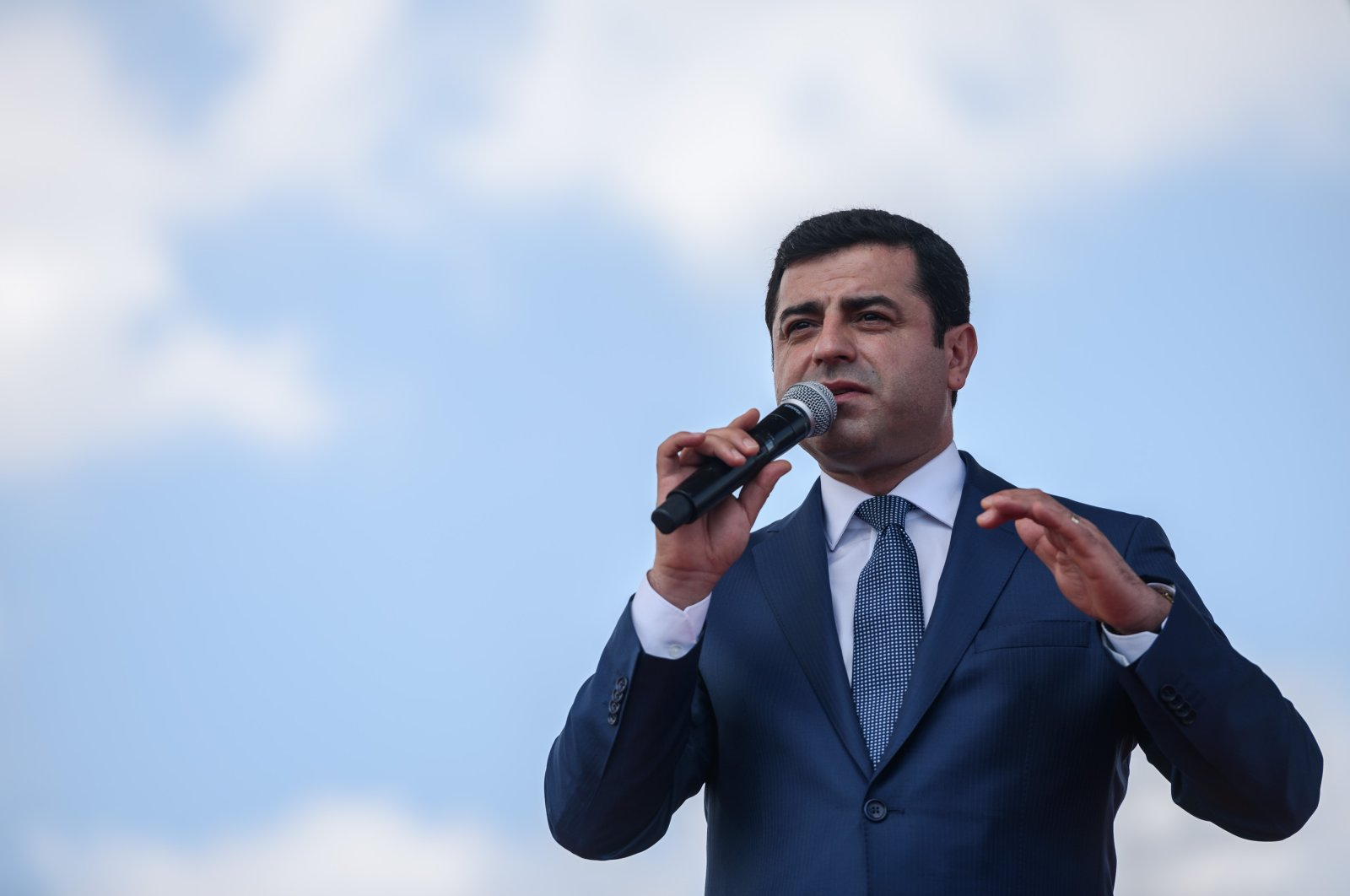 In this file photo taken on June 5, 2016 the then-co-chair of the pro-PKK HDP Selahattin Demirtaş delivers a speech in Istanbul during a rally on the lawmakers' immunity. (AFP Photo)