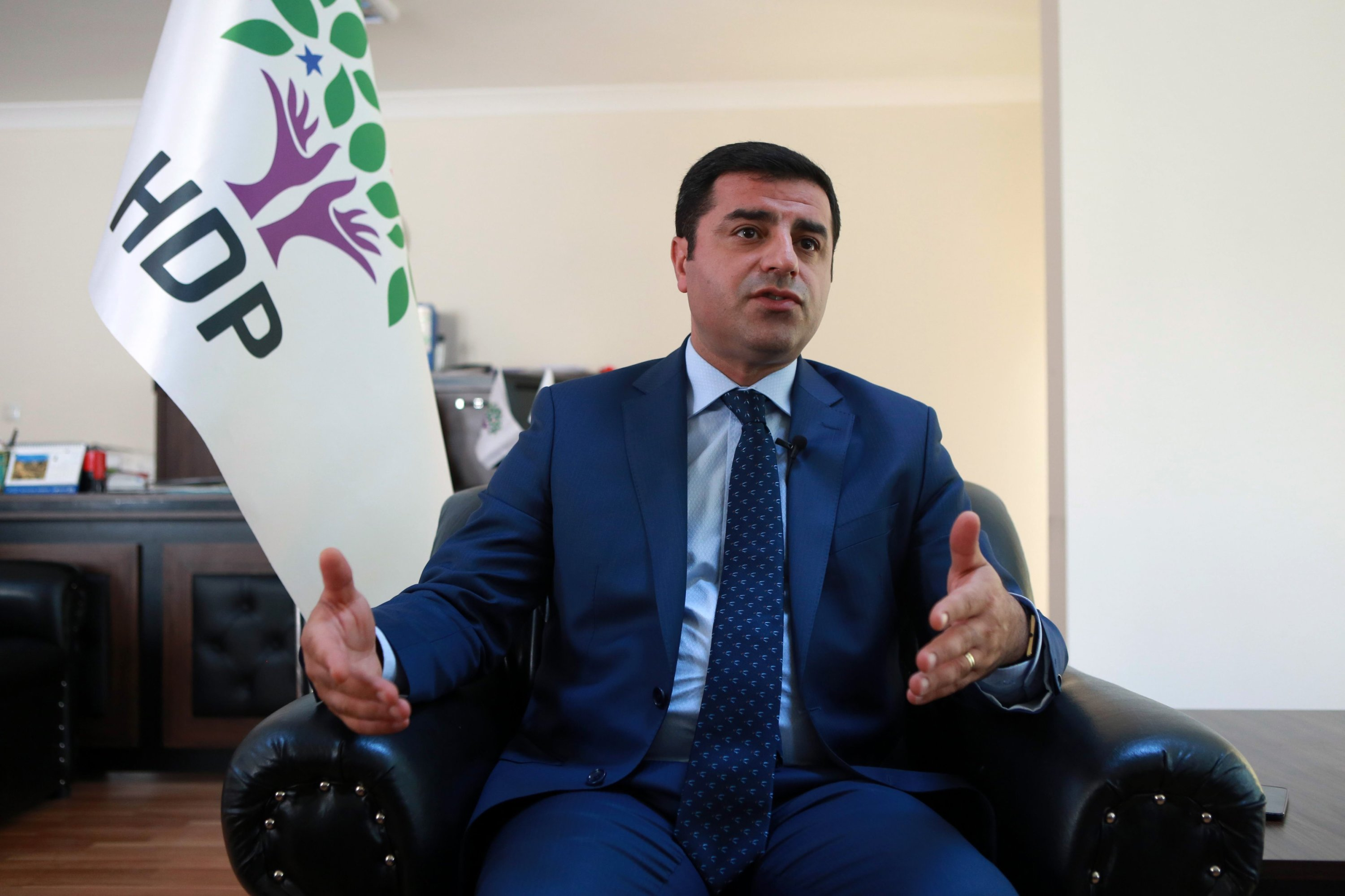 Former co-leader of the pro-PKK People's Democratic Party (HDP) Selahattin Demirtas speaks during an interview in Ankara, July 22, 2016. (AFP)