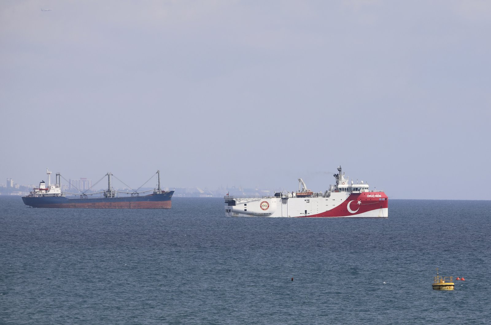 A view of Turkey's research vessel, Oruç Reis, anchored off the coast of Antalya on the Mediterranean, southern Turkey, Sept. 27, 2020. (AP Photo)