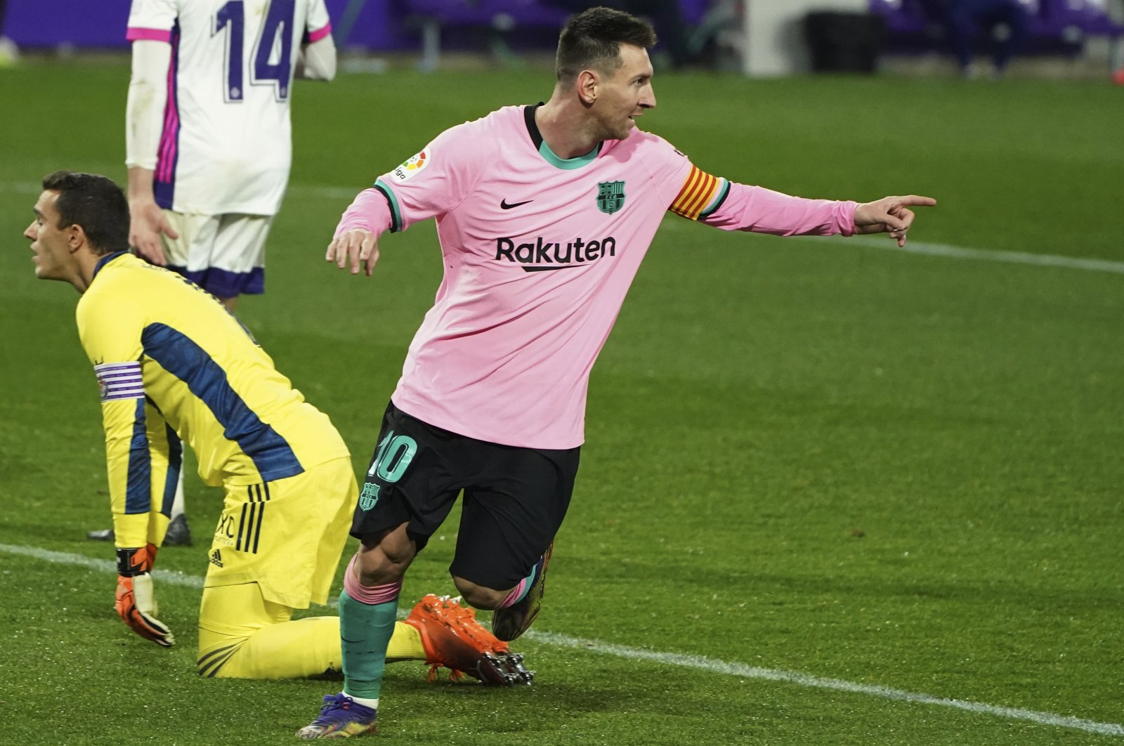 Barcelona's Lionel Messi celebrates a goal during a La Liga match against Valladolid at the Jose Zorrilla stadium in Valladolid, Spain, Dec. 22, 2020. (AP Photo)