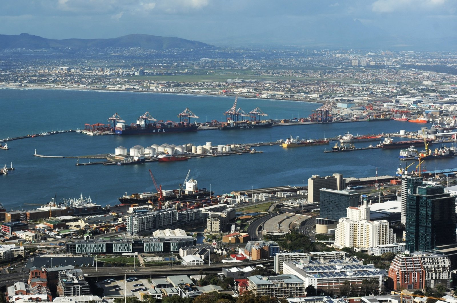 An aerial view of the Port of Cape Town and its surroundings, in Cape Town, South Africa, Aug. 11, 2020. (Reuters Photo)