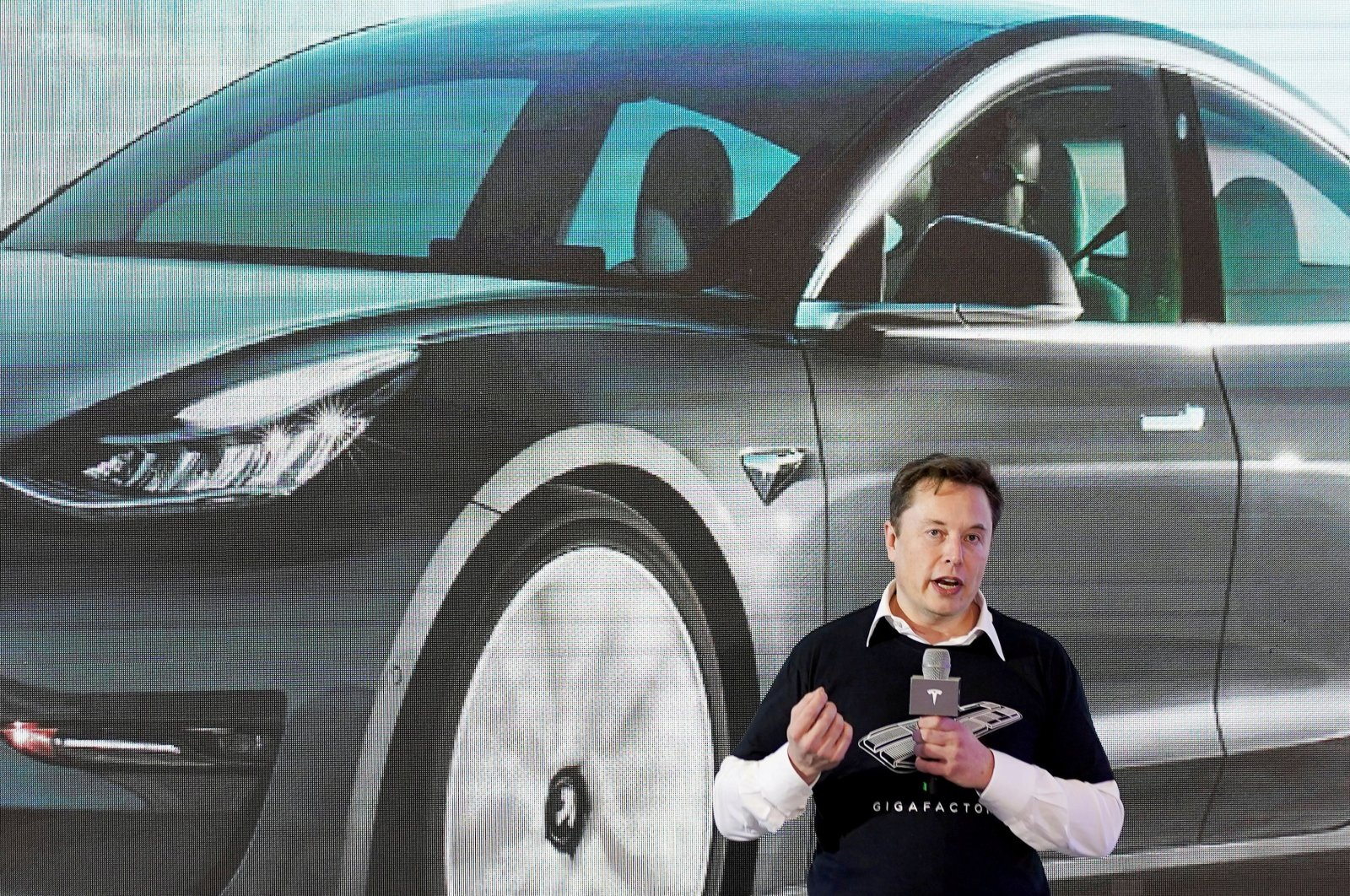 Tesla Inc. CEO Elon Musk speaks onstage during a delivery event for Chinese-made Tesla Model 3 cars at its factory in Shanghai, China, Jan. 7, 2020. (Reuters Photo)