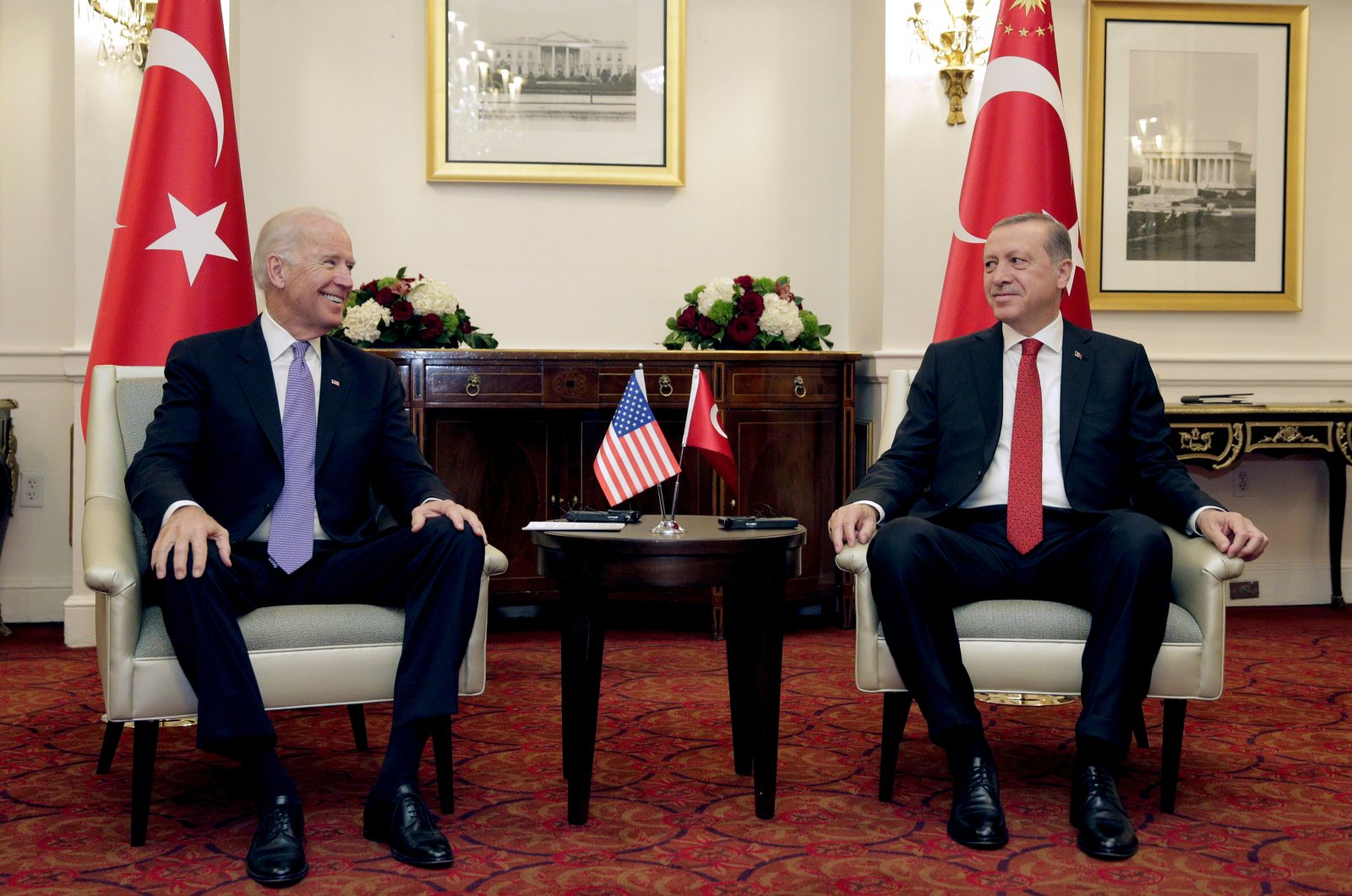 President Recep Tayyip Erdoğan and then U.S. Vice President Joe Biden at a meeting in Washington, the U.S., March 31, 2016. (Reuters Photo)
