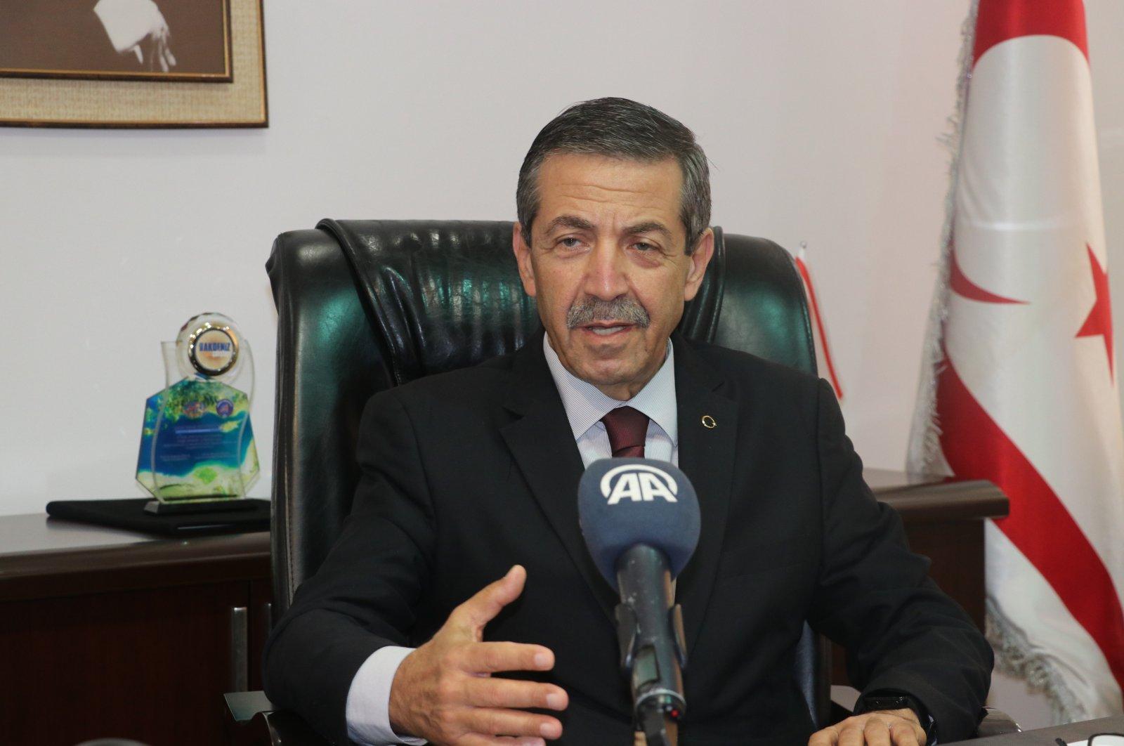 Tahsin Ertuğruloğlu speaks to Anadolu Agency in his office in Lefkoşa (Nicosia), Turkish Republic of Northern Cyprus (TRNC), Dec. 23, 2020. (AA)