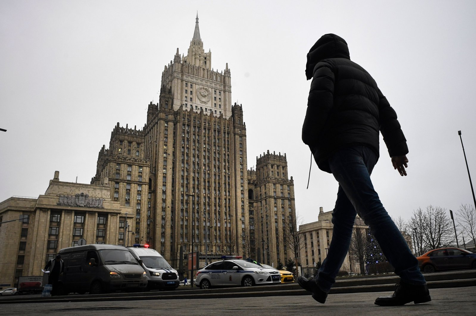 A man walks in front of the Russian Foreign Ministry headquarters in Moscow, Russia, Dec. 22, 2020. (AFP Photo)