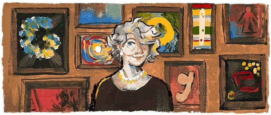 The Google Doodle celebrating Aliye Berger's 117th birthday.