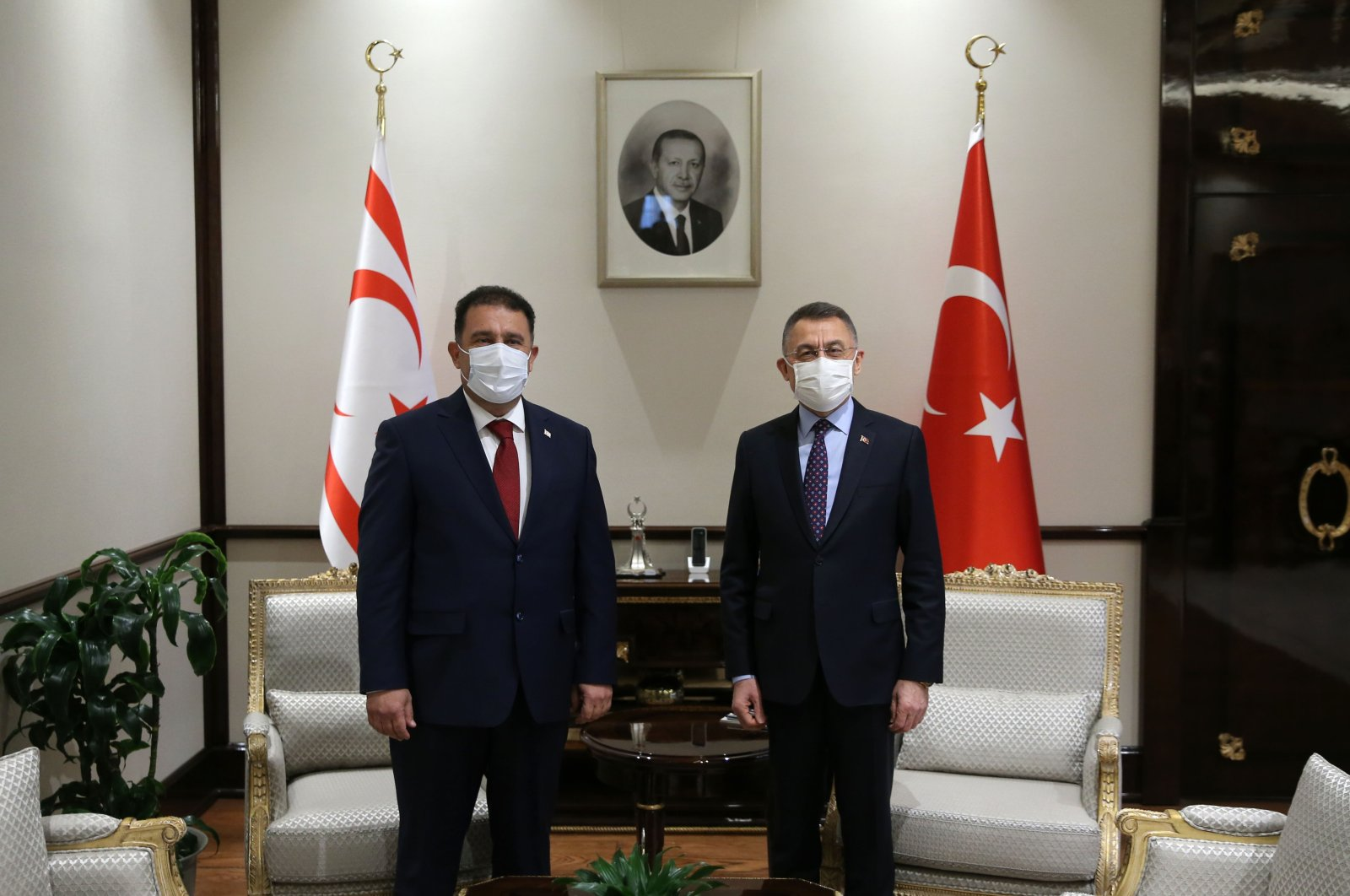 Turkish Vice President Fuat Oktay (R) and TRNC Prime Minister Ersan Saner at the Presidential Complex in Ankara, Turkey, Dec. 24, 2020. (AA Photo)