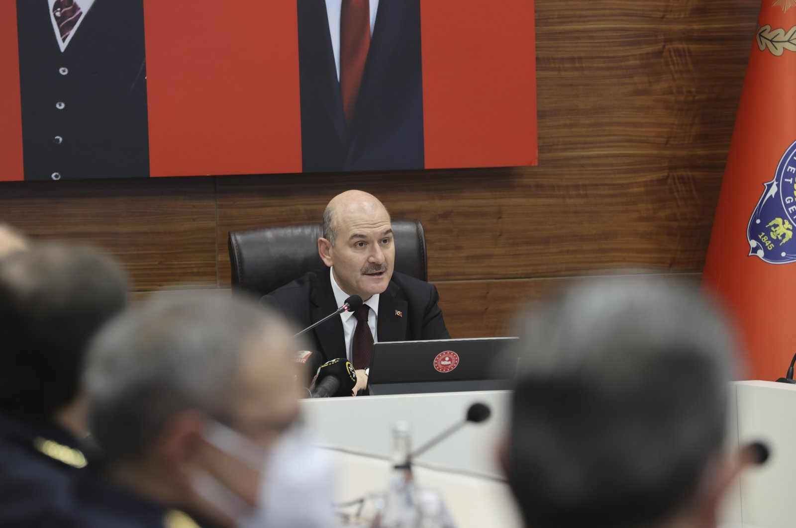 Interior Minister Süleyman Soylu speaks at a meeting with provincial police commissioners in Istanbul, Turkey, Dec. 24, 2020. (AA Photo)