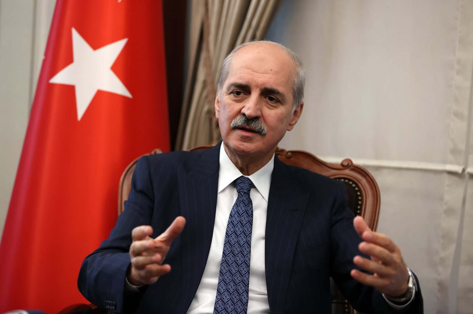 The ruling Justice and Development Party (AK Party) Deputy Chair Numan Kurtulmuş speaks to the Anadolu Agency (AA), Dec. 24, 2020. (AA Photo)