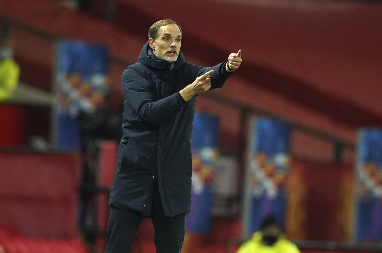 PSG coach Thomas Tuchel gestures during a Champions League match against Manchester United at the Old Trafford stadium in Manchester, England, Dec. 2, 2020. (AP Photo)