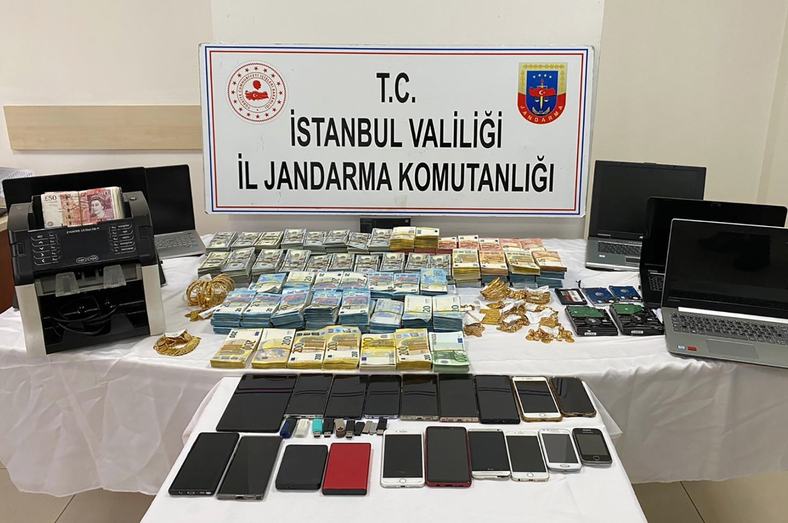 Gendarmerie Command exhibits money and assets seized in operations in Istanbul, Turkey, Dec. 24, 2020. (AA Photo)