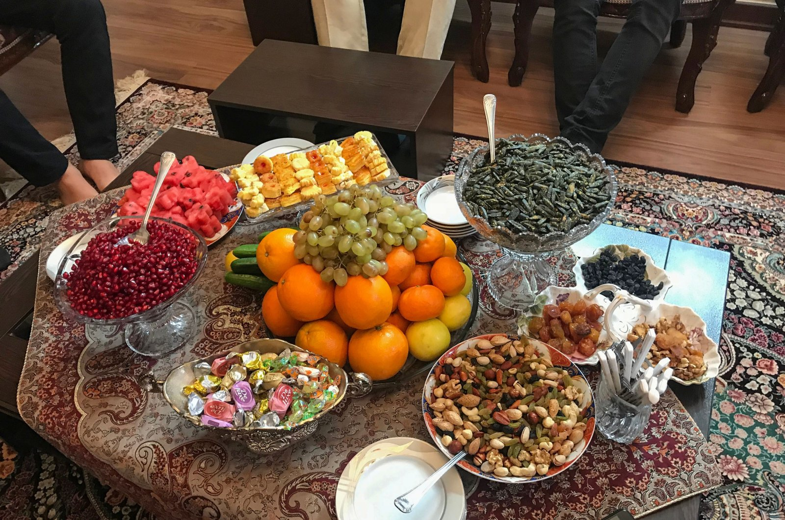 Freshly-dried fruits and nuts on offer on tables prepared for the Shab-e Yalda celebration