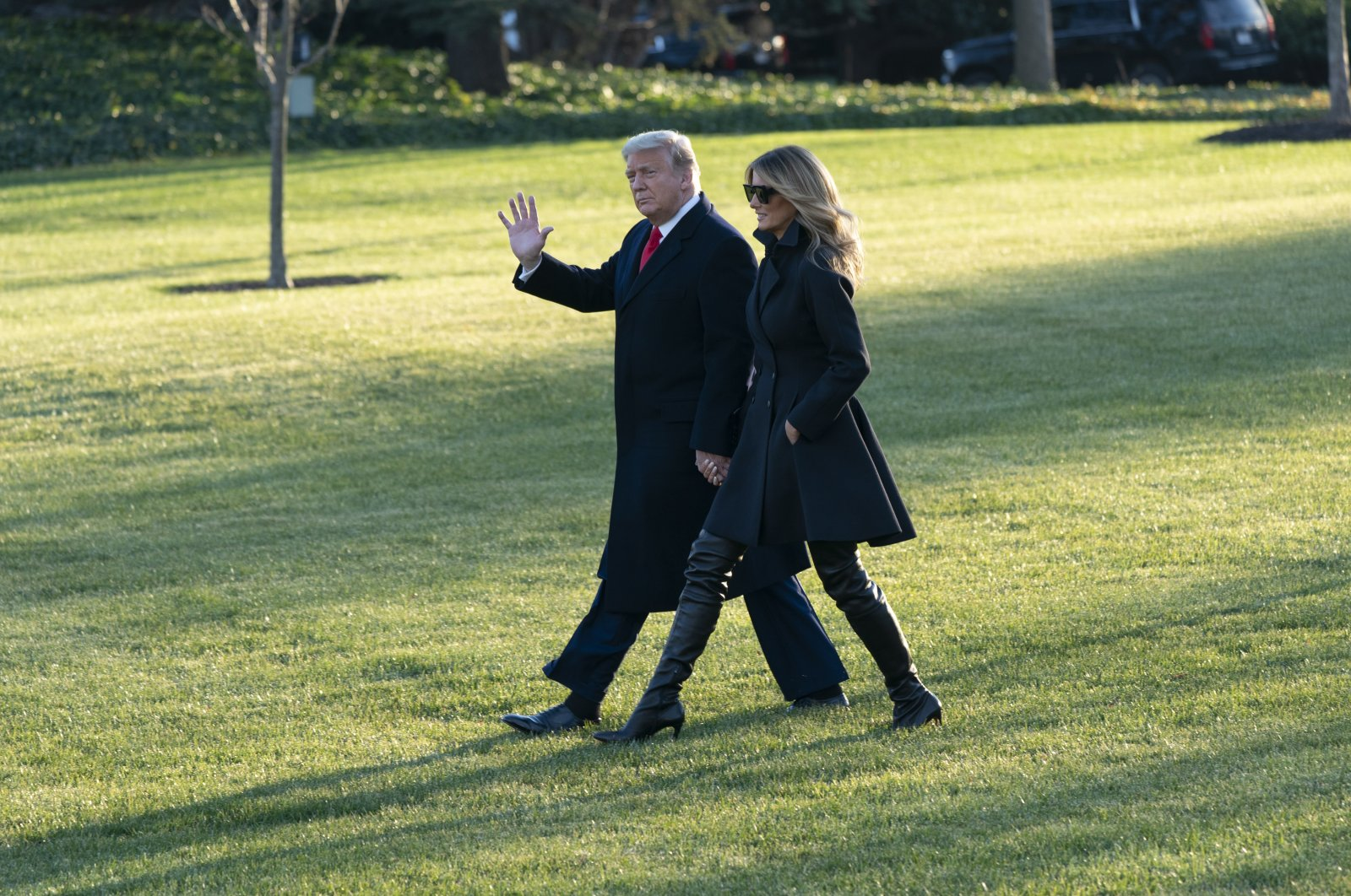 U.S. President Donald J. Trump and First lady Melania Trump (R) depart the White House, in Washington, D.C., USA, Dec. 23, 2020. (EPA Photo)
