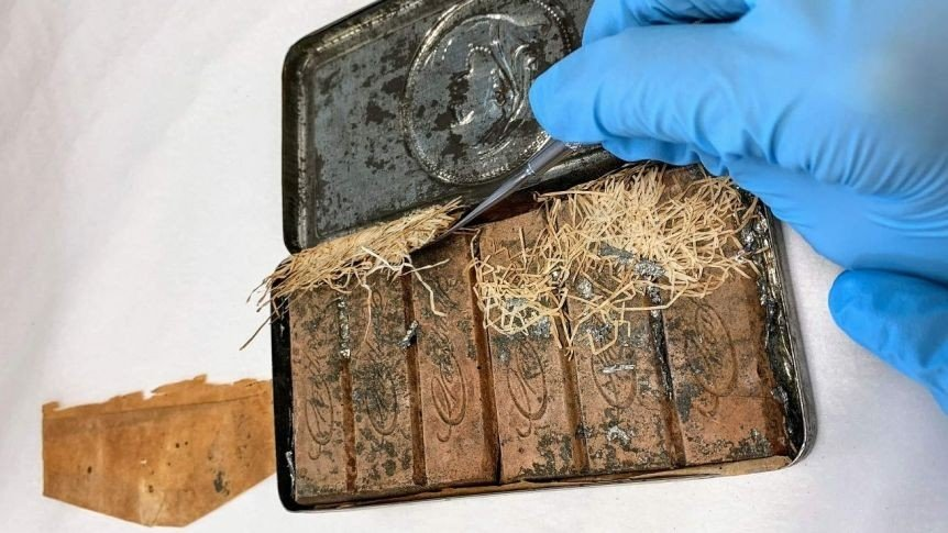 The 120-year-old chocolates found in the estate of Australian poet Andrew Barton Paterson, Australia, Dec. 24, 2020. (IHA Photo)