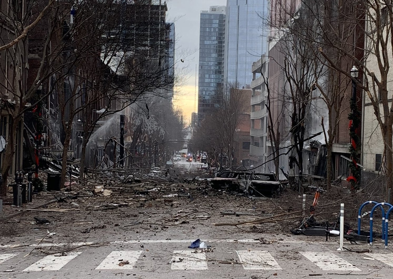 The scene of an explosion that injured three in Nashville, Tennessee, Dec. 25, 2020. (AFP)