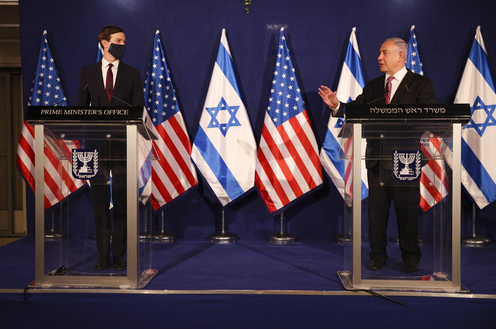 White House senior adviser Jared Kushner (L) and Israeli Prime Minister Benjamin Netanyahu during a news conference in Jerusalem, Dec. 21, 2020. (AP Photo)