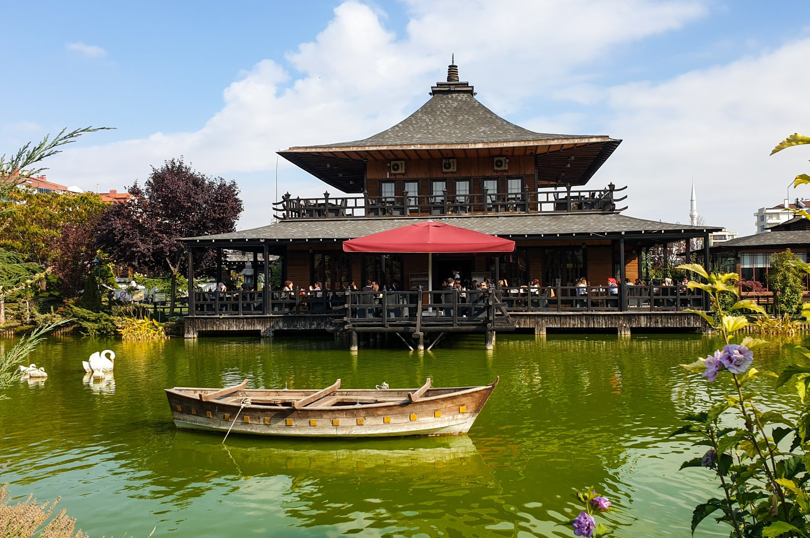 A cafe built in the Japanese architectural style at the Kyoto Japanese Garden, in the Selçuklu district of Konya, central Turkey. (Photo by Argun Konuk)