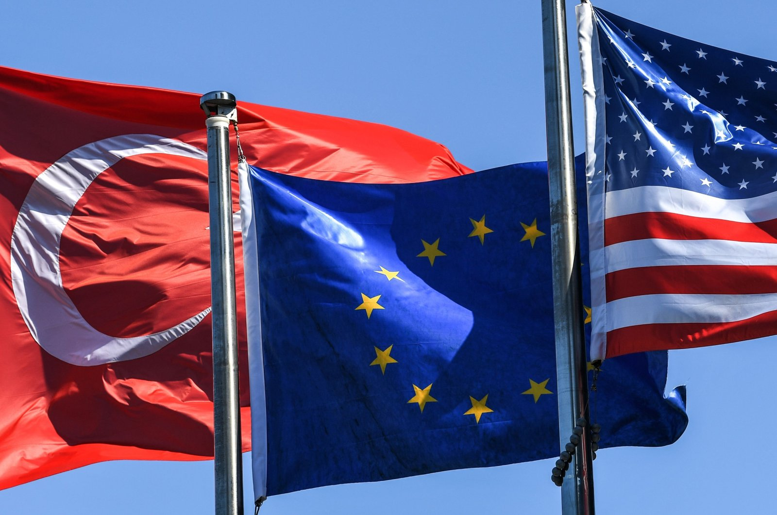 The flags of Turkey, the European Union and the U.S. wave in the wind in the Maslak quarter, Istanbul, Turkey, Aug. 15, 2018.