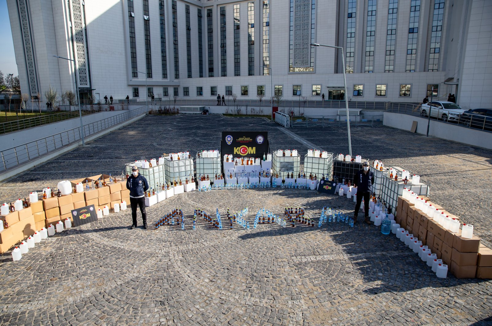 Bootleg drinks seized in operations on display outside police headquarters in the capital Ankara, Turkey, Dec. 25, 2020. (AA PHOTO)