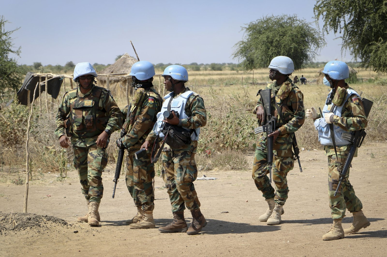 UN peacekeepers make a patrol in the village of Nhialdiu, part of an increase in patrols since an increase of reports of violent attacks on the road from Bentiu to Nhialdu in South Sudan, Dec. 7, 2018. (AP Photo)