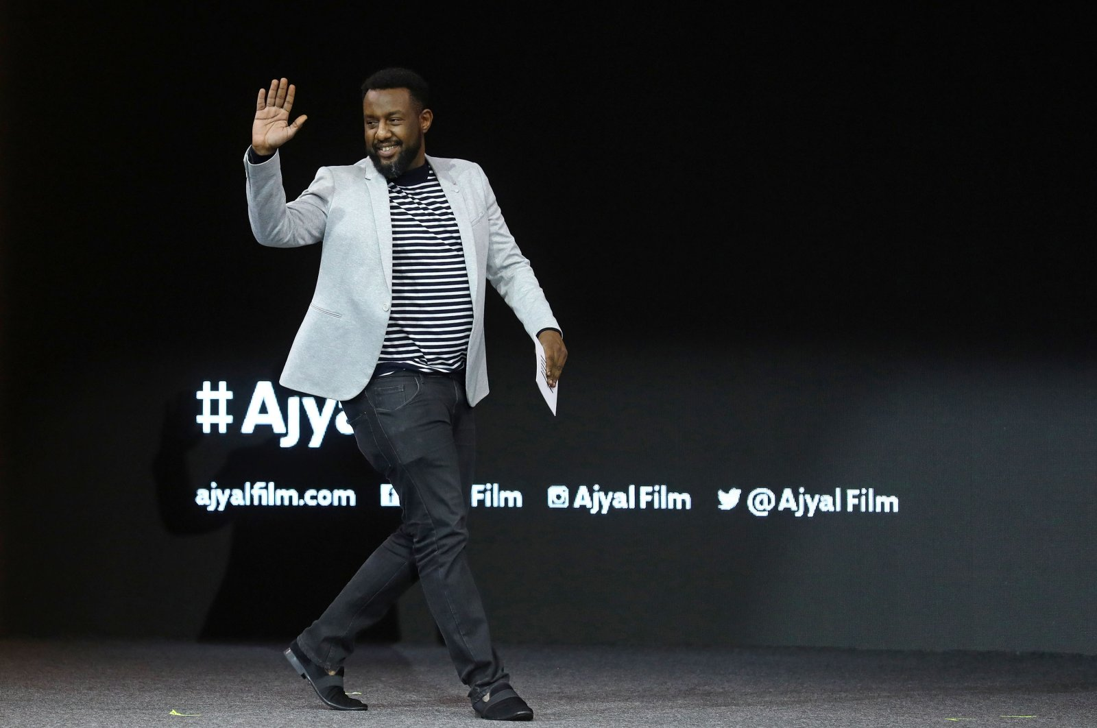 Director of 'You Will Die at Twenty' Amjad Abu Alala on stage during the Award Ceremony on the final night of the Ajyal Film Festival on November 23, 2019 in Doha, Qatar. (Getty Images)