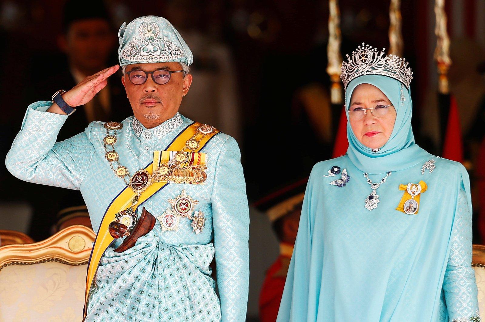 Malaysia's new King Sultan Abdullah Sultan Ahmad Shah (L) and Queen Tunku Azizah Aminah Maimunah Iskandariah attend a welcoming ceremony at the Parliament House in Kuala Lumpur, Malaysia, Jan. 31, 2019.
