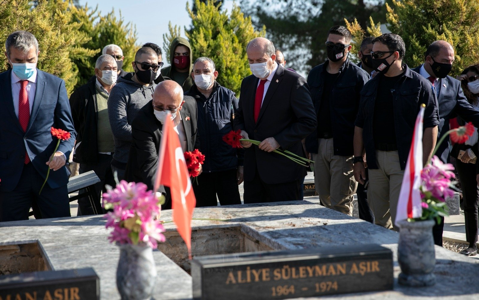 Fourteen children killed by a Greek terrorist group in 1974 were buried in a ceremony attended by Turkish Republic of Northern Cyprus (TRNC) President Ersin Tatar, Dec. 26, 2020. (AA Photo)