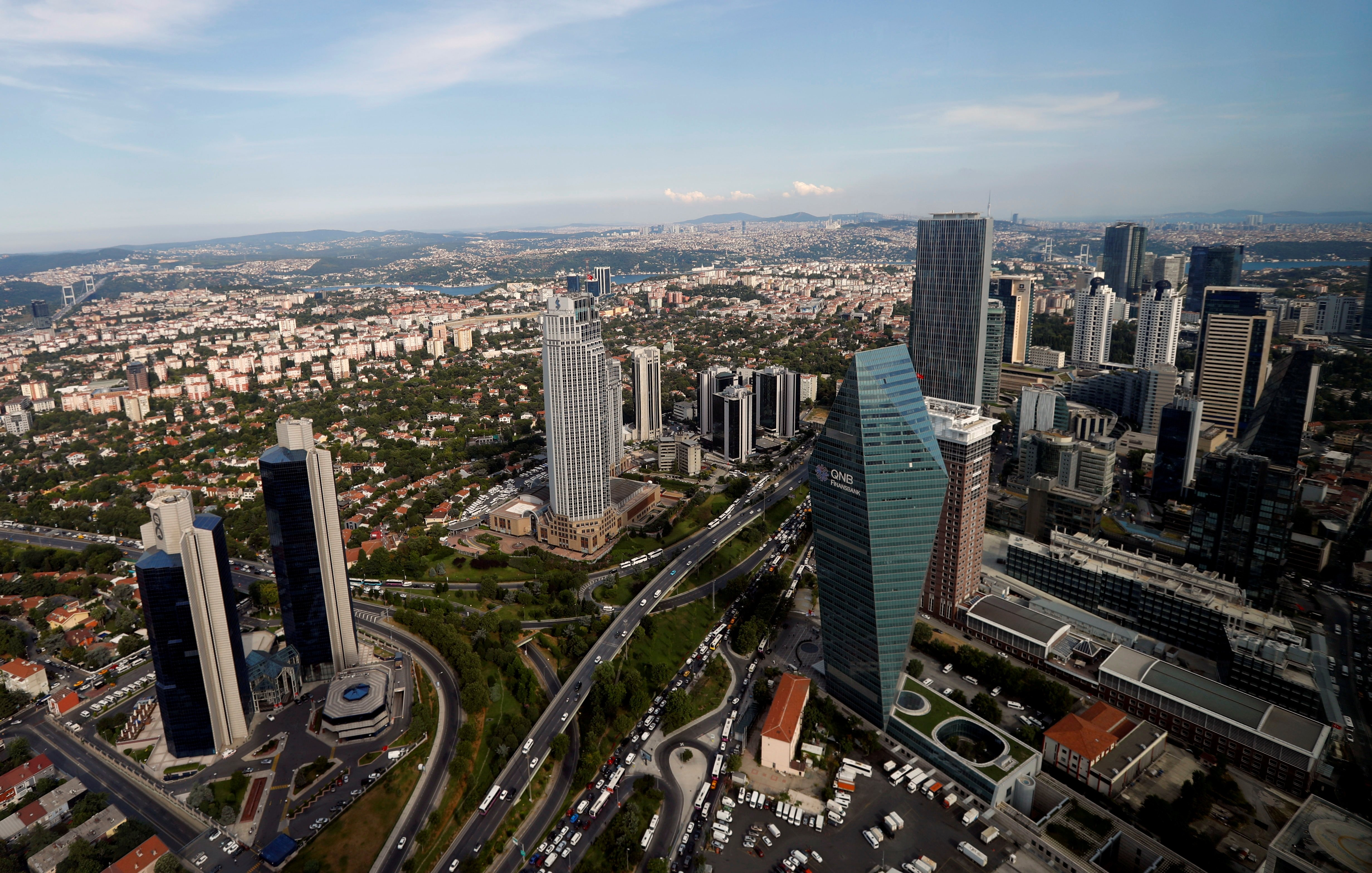 The business and financial district of Levent, comprised of banks' headquarters and popular shopping malls, in Istanbul, Turkey, July 9, 2019. (Reuters Photo)