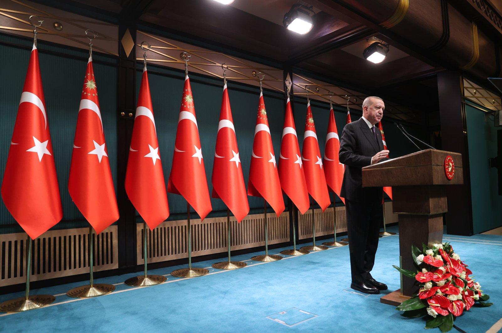 President Recep Tayyip Erdoğan speaking after a Cabinet meeting, Dec.14, 2020 (AA Photo)