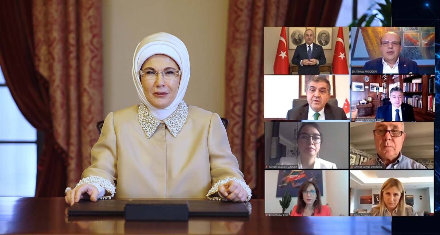 First lady Emine Erdoğan delivers a message during the Road to 2030 Sustainability Webinar, organized by Turkuvaz Media Group in Istanbul, Turkey, Dec. 28, 2020. (DHA Photo)