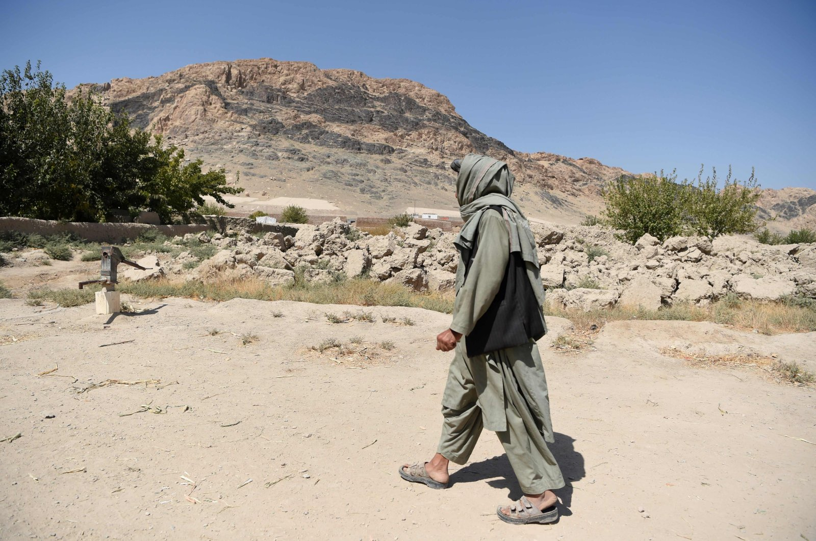 Former commander and senior district official for the Taliban, Haji Lala, arrives for an interview with Agence France-Presse (AFP) in Panjwai, Afghanistan, Sept. 28, 2020. (AFP Photo)