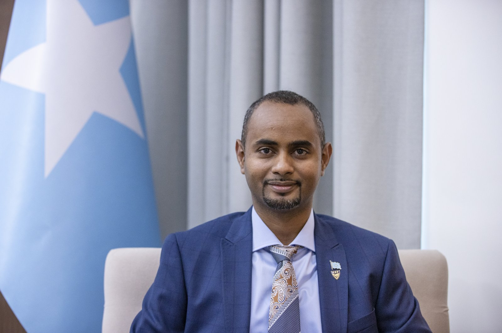Somali Justice Minister Abdulkadir Mohamed Nur speaks to Anadolu Agency (AA) in an interview in Ankara, Turkey, Dec. 27, 2020. (AA Photo)