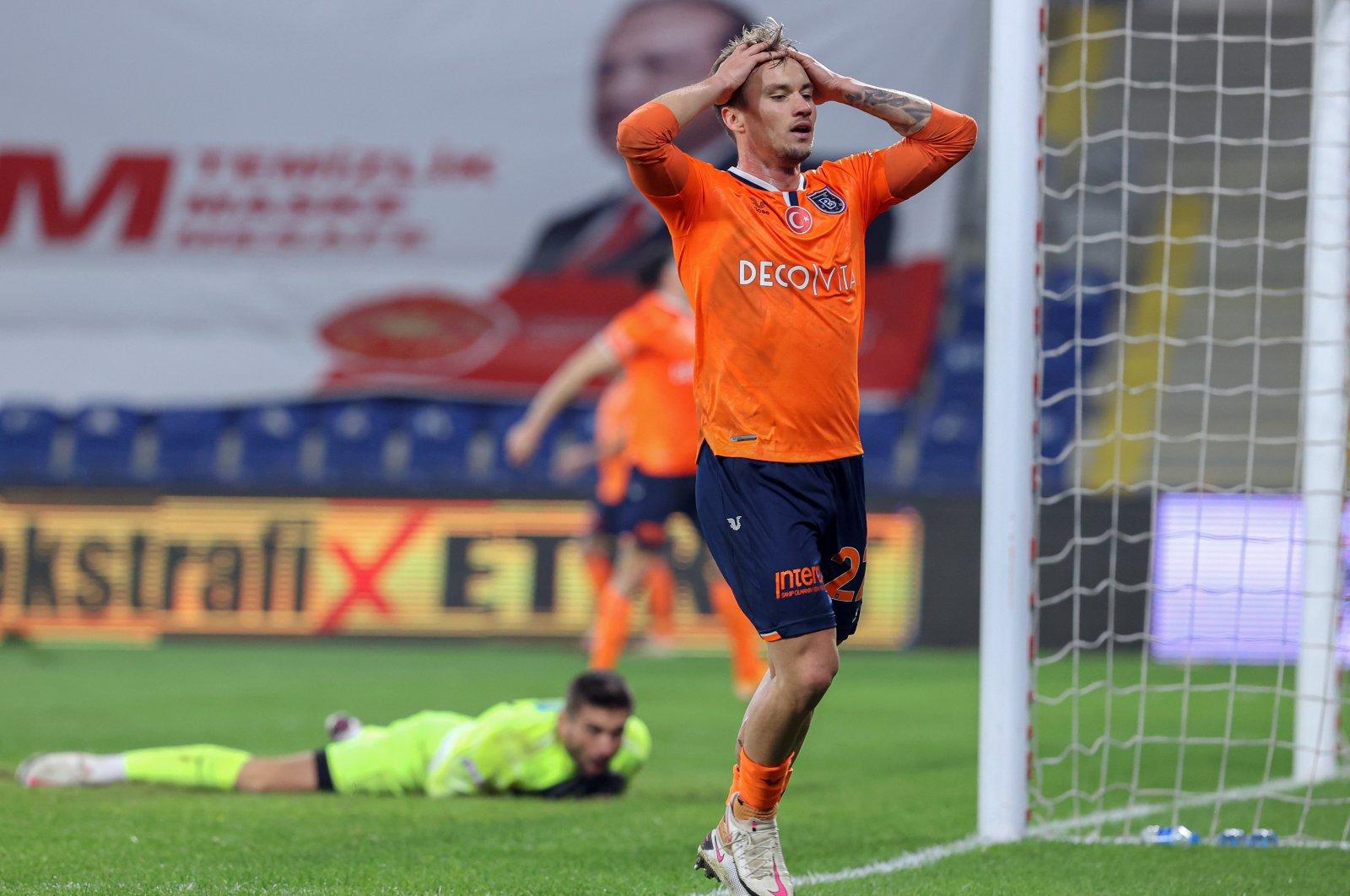 Başakşehir's Fredrik Gulbrandsen reacts after missing a shot during a Süper Lig match against Kasımpaşa at the Fatih Terim Stadium, in Istanbul, Turkey, Dec. 27, 2020. (AA Photo)