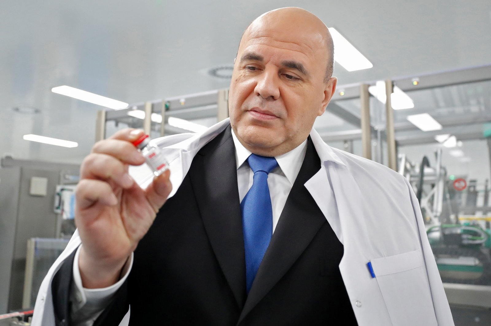 Russia's Prime Minister Mikhail Mishustin visits a facility of BIOCAD biotechnology company which produces the Gam-COVID-Vac, also known as Sputnik-V, vaccine against the COVID-19, in Saint Petersburg, Russia, Dec. 25, 2020. (Reuters Photo)