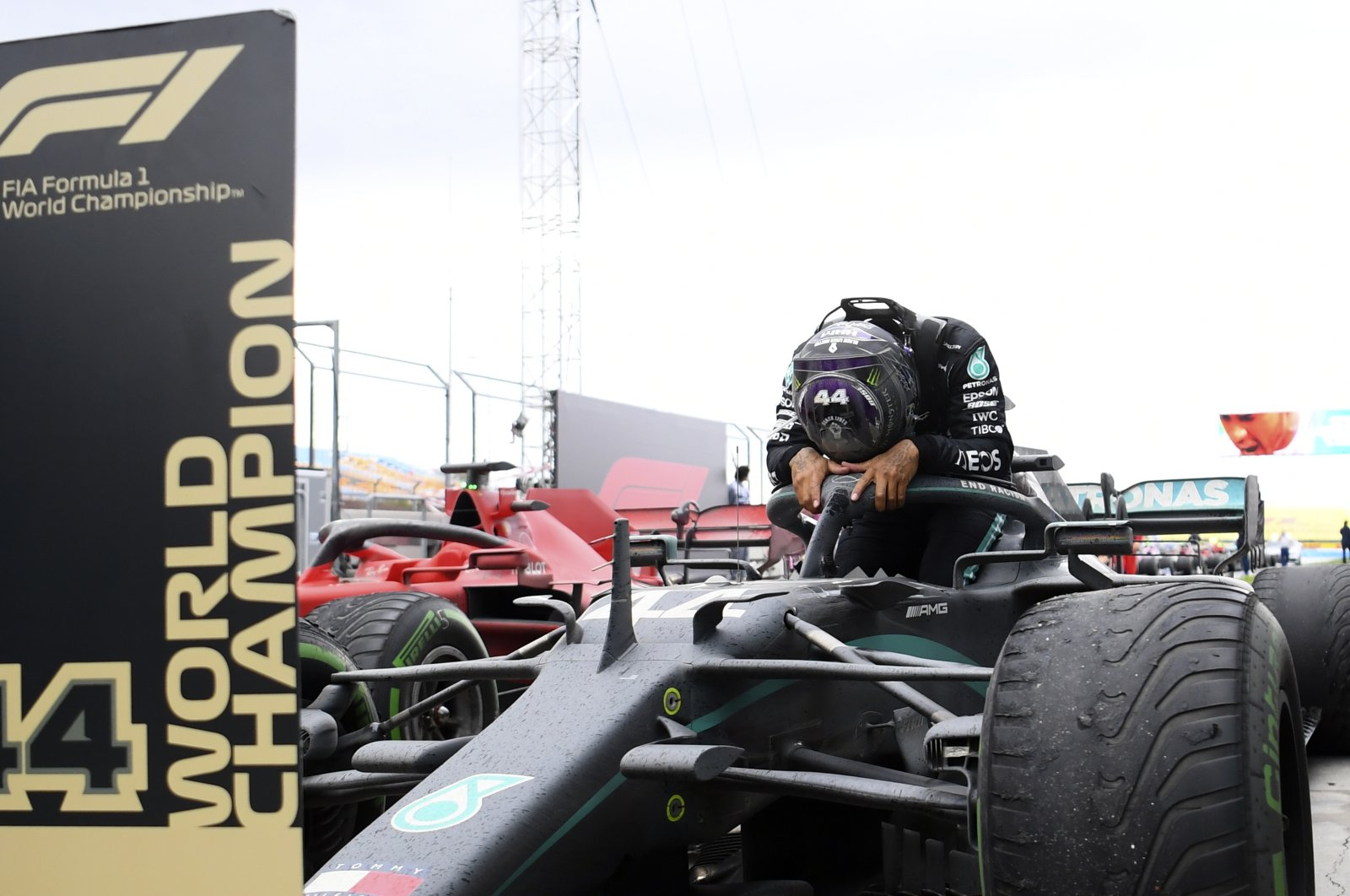 Mercedes driver Lewis Hamilton reacts after winning the Turkish Formula One Grand Prix at the Istanbul Park circuit, in Istanbul, Turkey, Nov. 15, 2020. (AP Photo)