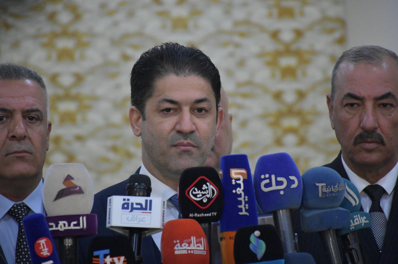 Iraqi Turkmen Front (ITC) Kirkuk Provincial Deputy Chairperson Kahtan Vindavi speaks to reporters in Kirkuk, Iraq, Dec. 28, 2020. (AA Photo)
