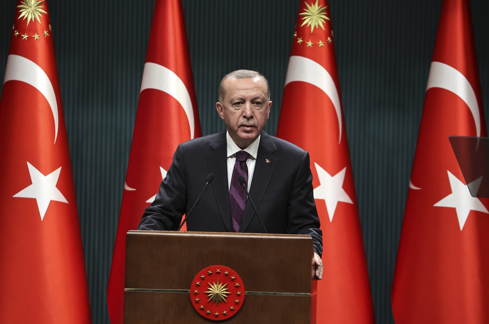 President Recep Tayyip Erdoğan speaks after a Cabinet meeting in the capital Ankara, Dec. 28, 2020. (AA Photo)