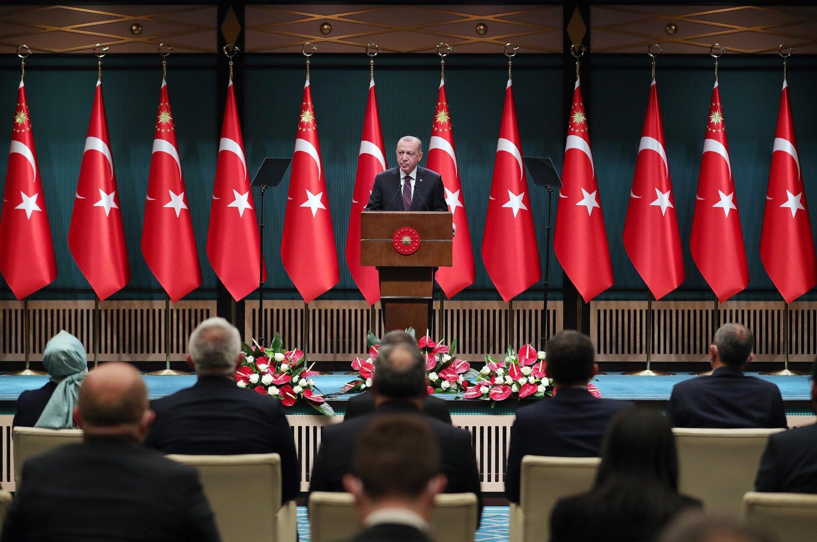 President Recep Tayyip Erdoğan speaks after a Cabinet meeting in the capital Ankara, Turkey, Dec. 28, 2020. (AA Photo)