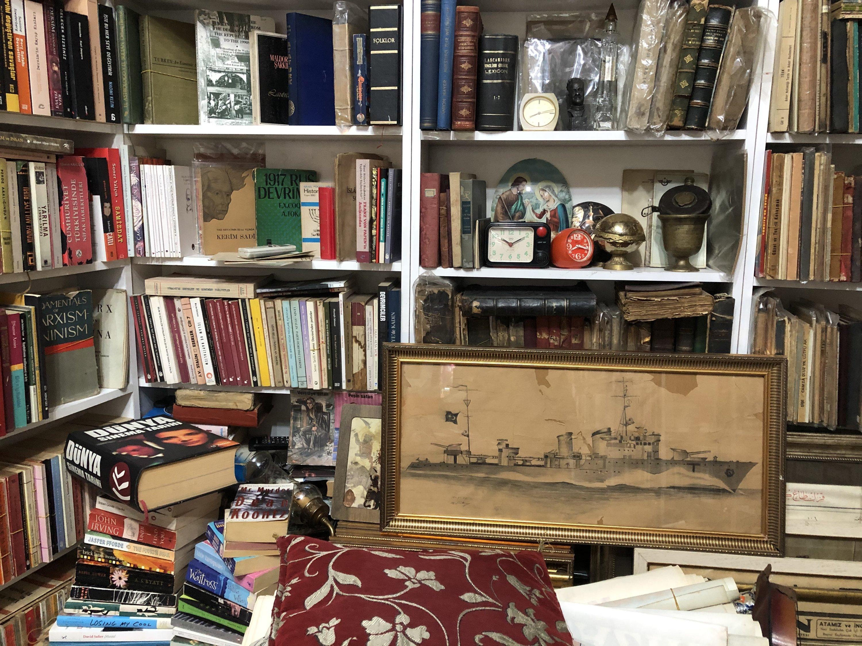Old books and art pieces inside the Beşiktaş Sahaf and Vinyl House. (Photo by Matt Hanson)