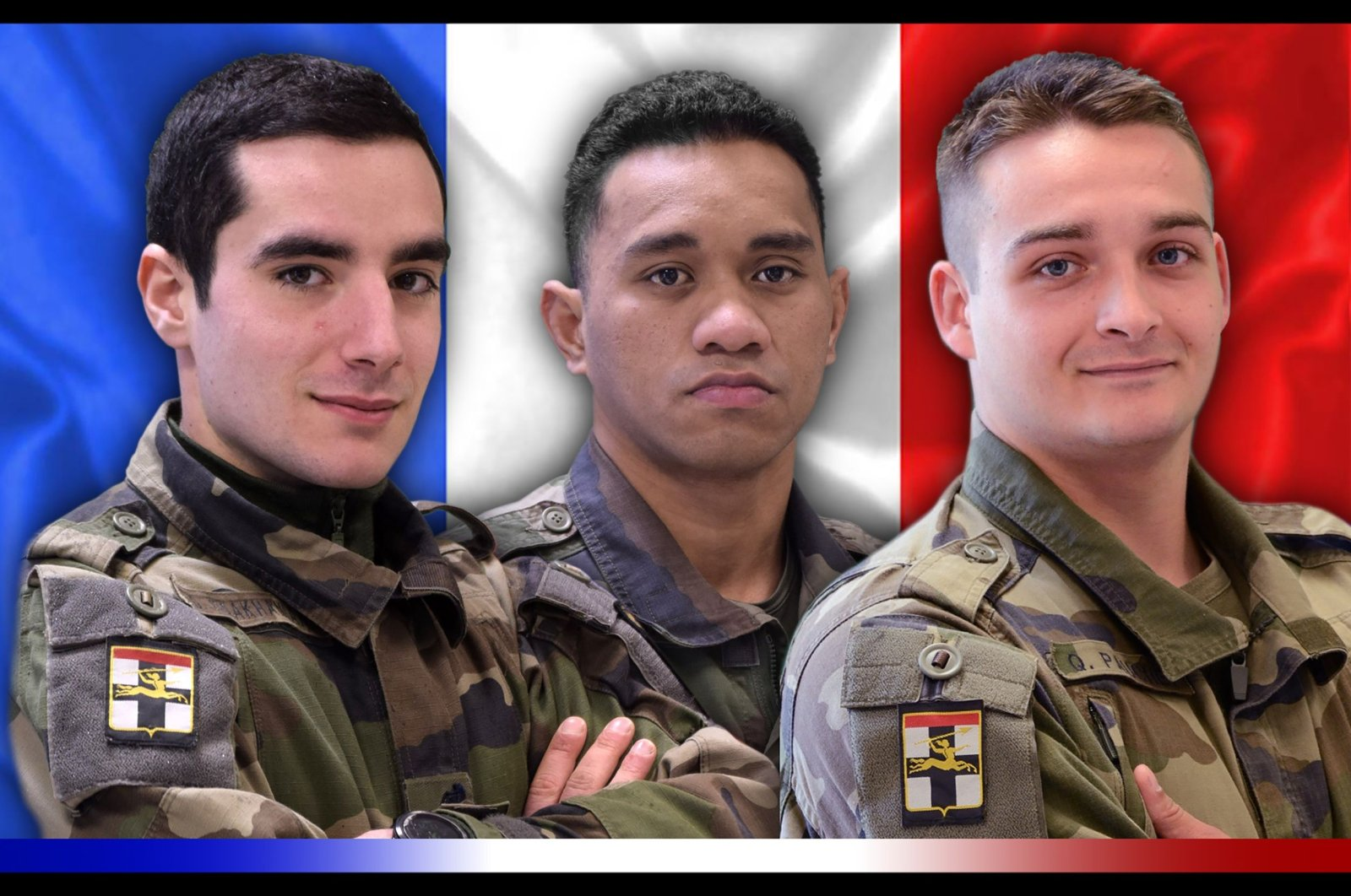 French soldiers (from L) Dorian Issakhanian, Tanerii Mauri and Quentin Pauchet were killed during an operation in the Hombori region, in Mali, Dec. 28, 2020. (AFP Photo)