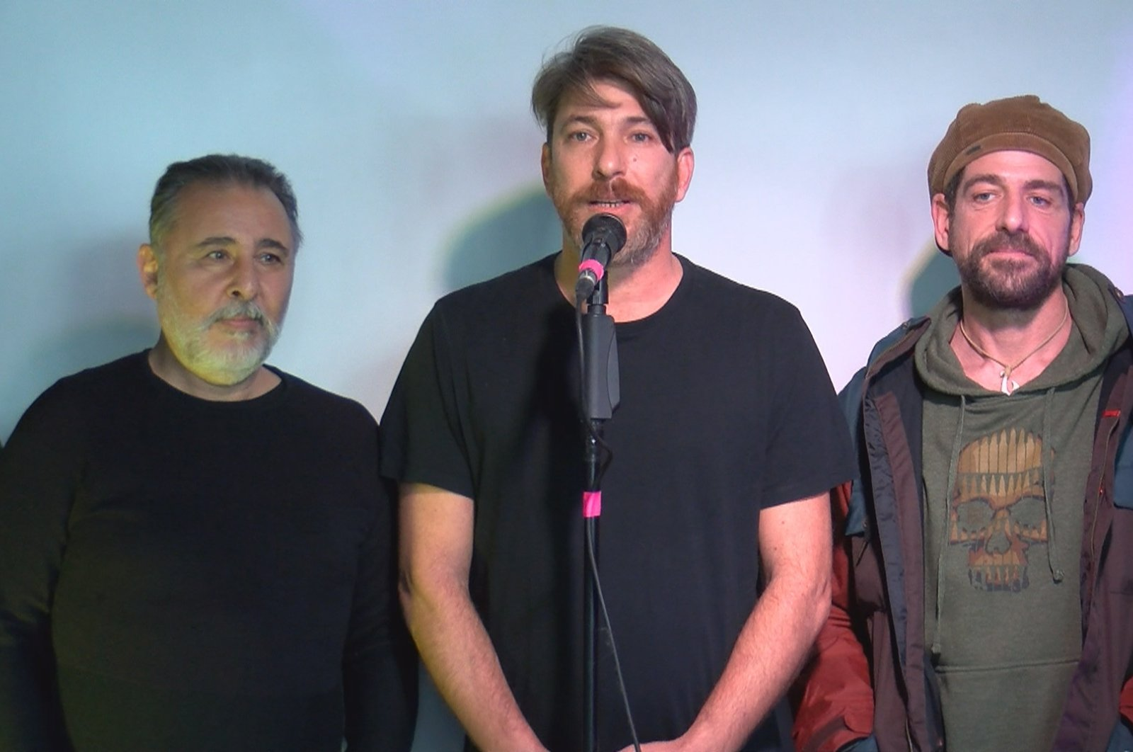 From left to right, stage actors Kemal Başar, Onur Şenay and Cemal Hünal attend the inauguration of the tiyatro.net platform, Dec. 28, 2020. (DHA PHOTO)