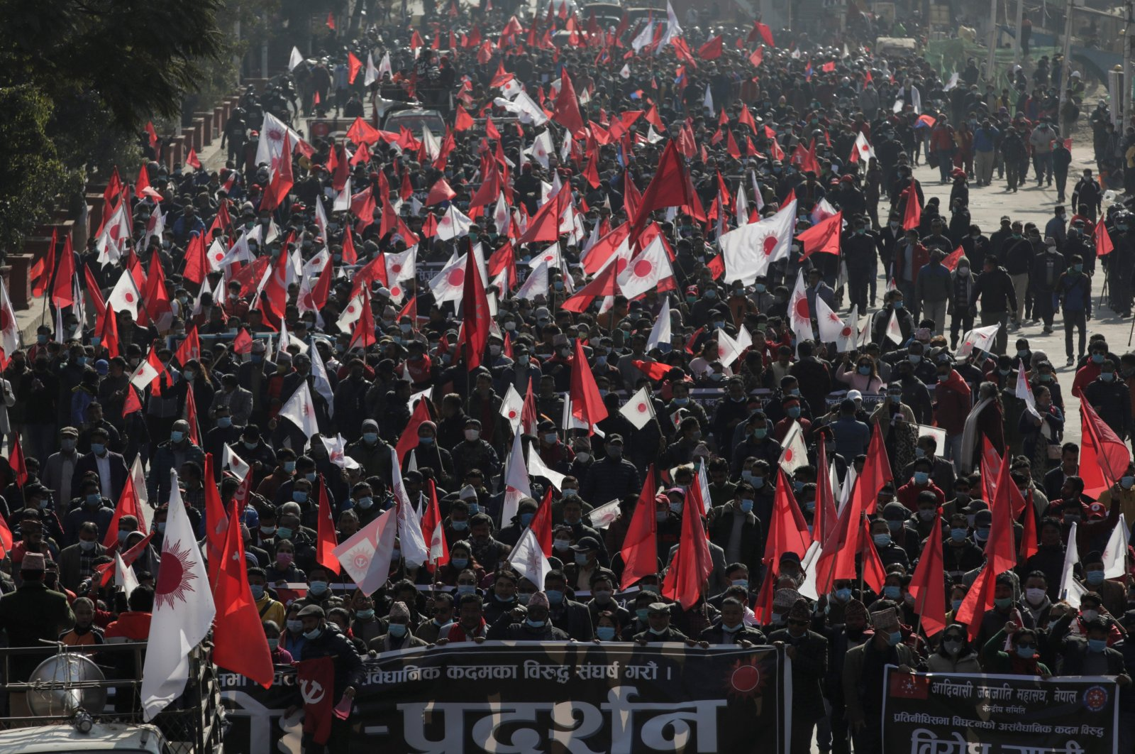 Protesters affiliated with a faction of the ruling Nepal Communist Party take part in a rally against the dissolution of parliament, in Kathmandu, Nepal, Dec. 29, 2020. (Reuters Photo)