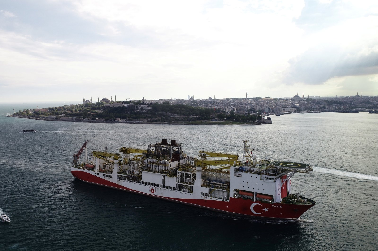 Turkish drilling vessel Fatih sails through Bosphorus as it leaves for the Black Sea in Istanbul, Turkey, May 29, 2020. (Reuters Photo)