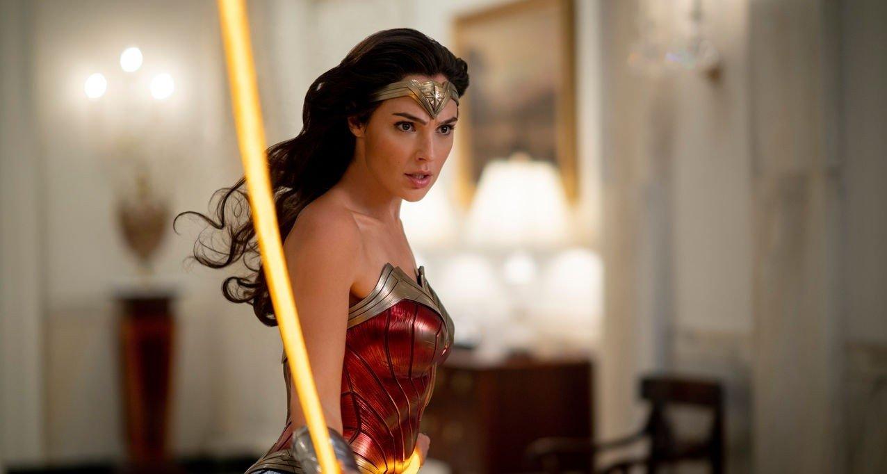 "Gal Gadot fights in a scene from ""Wonder Woman 1984."""